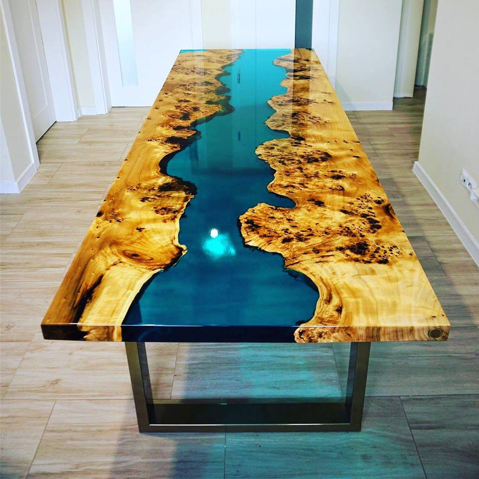 Gold Ocean River Table Set Art Steel Wood